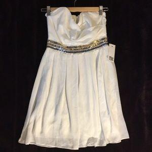 TFNC from Aritzia: strapless mini dress